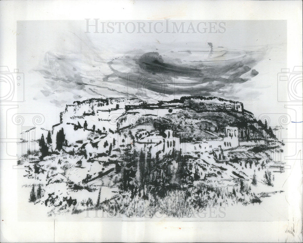 1976 Press Photo Martyl Langsdorf drawing of a greek landscape - Historic Images