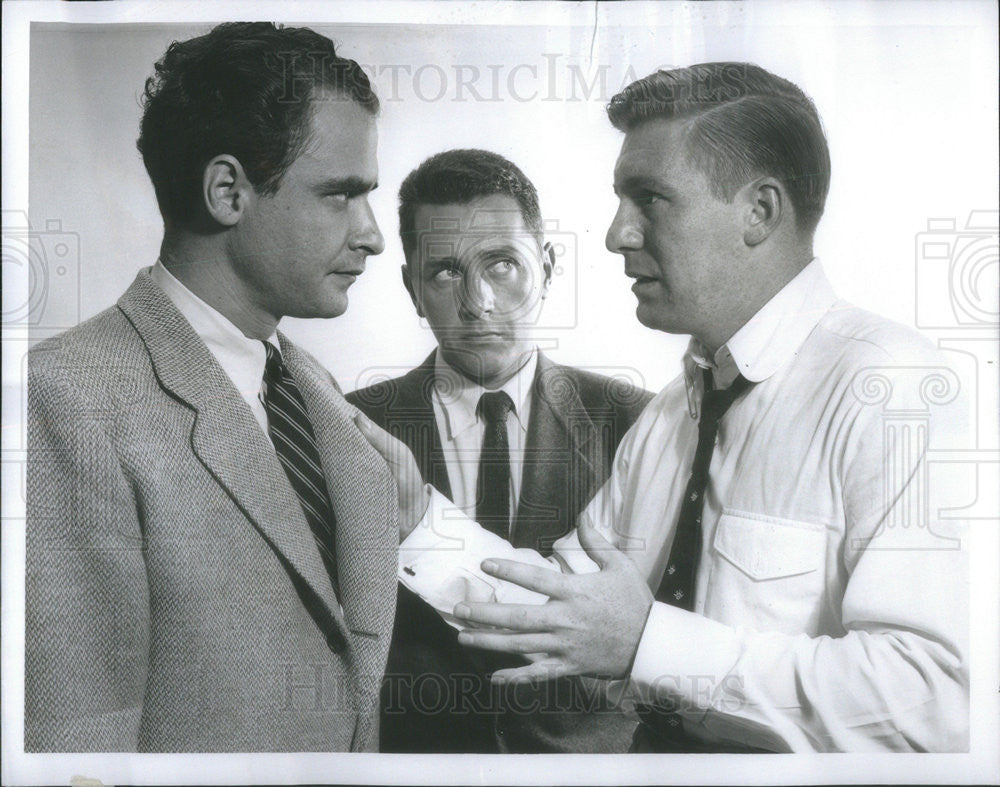 "Press Photo Leo Penn, Joe Di Reda, and Terry Becker in ""Big Story"" on NBC - Historic Images"