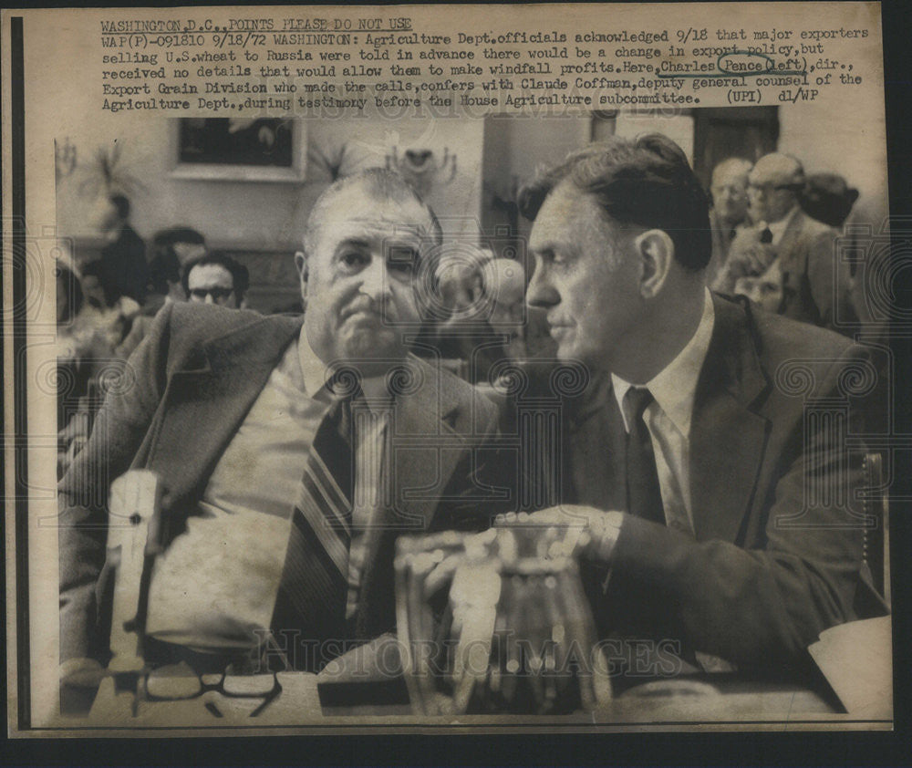 1972 Press Photo Agri Dept officials Charles Pence and Claude Coffman - Historic Images