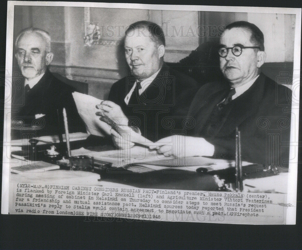 1948 Press Photo Finland's Premier Mauno Pekkala, Foreign Minister Carl Enckell - Historic Images