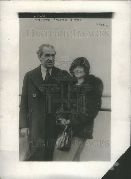 1924 Press Photo Channing Pollock playwright going abroad and wife - Historic Images