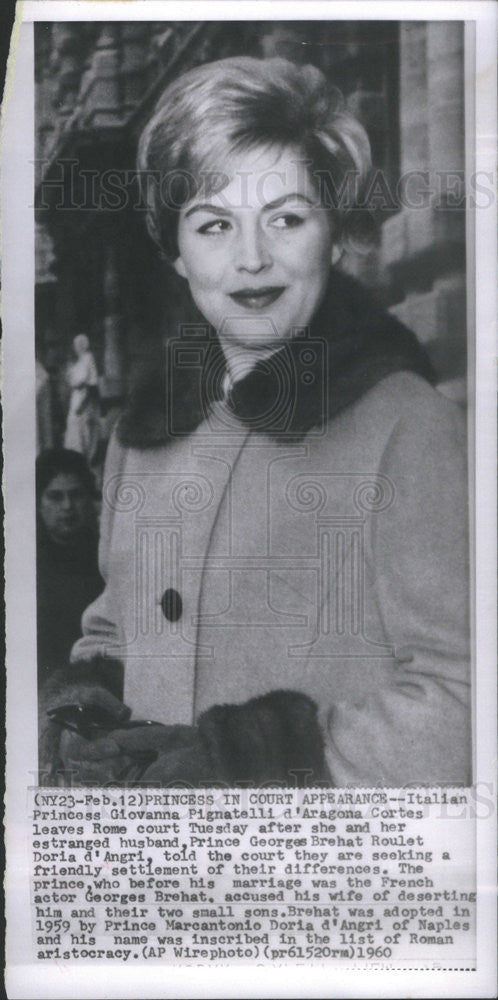 1960 Press Photo Italy Princess Giovanna Pignatelli d'Aragona Cortes Rome Court - Historic Images