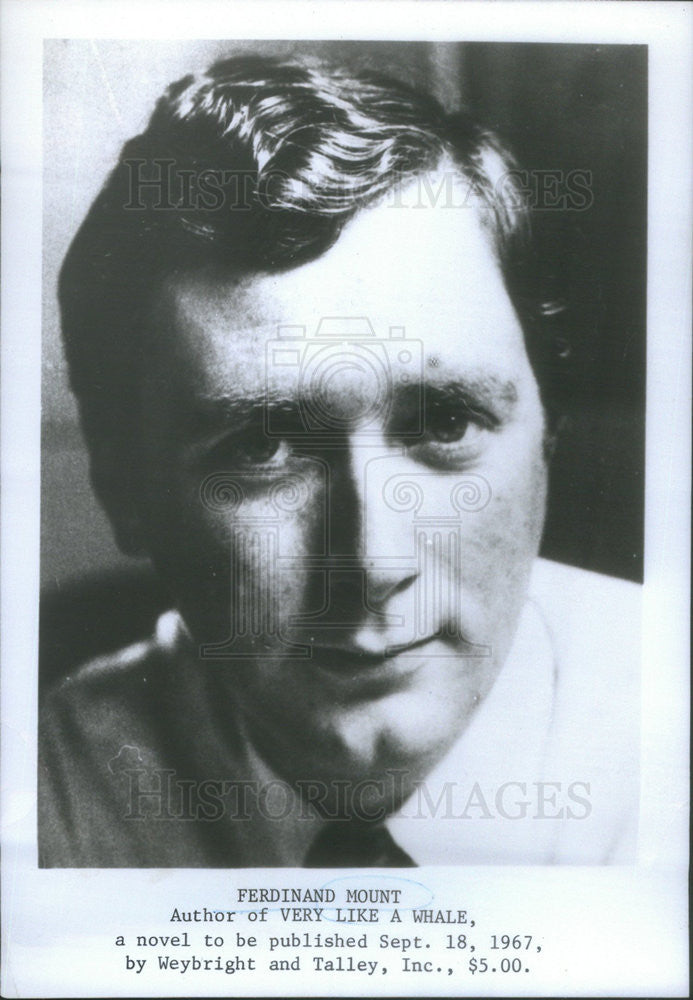 1967 Press Photo Ferdinand Mount Author Novel Very Like A Whale - Historic Images