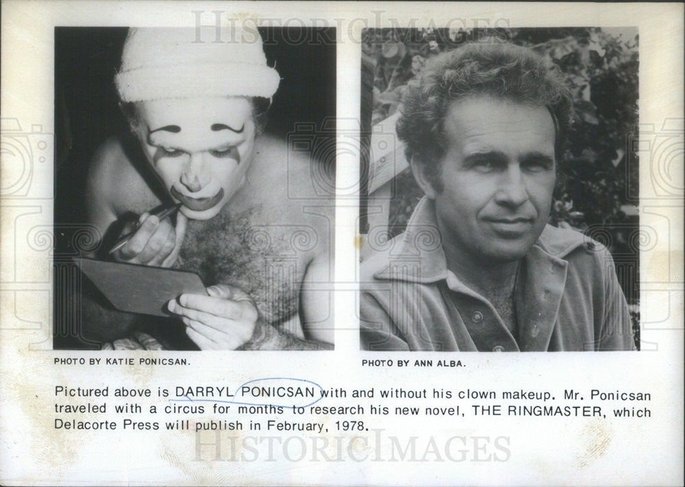 1978 Press Photo Darryl Ponicsan,with and without clown makeup,author - Historic Images