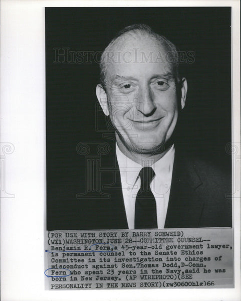 1966 Press Photo Benjamin R. Fera Government Lawyer Senate Ethics Committee - Historic Images