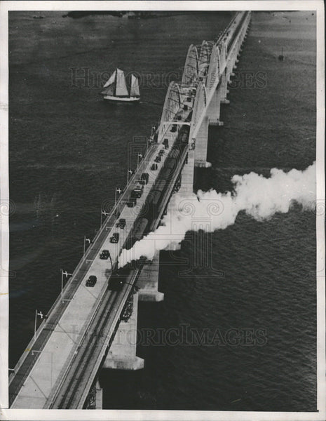 1937 Press Photo Great Stream Zealand Falster Bridge 10,432 feet - Historic Images