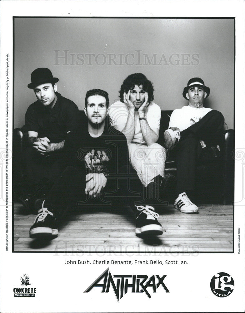 "1998 Press Photo Anthrax Heavy ""Thrash"" Metal Band from New York City Began 1981 - Historic Images"