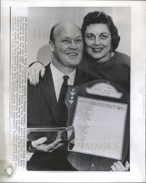 1958 Press Photo Charley Boswell Blind International Golf Champion & Wife - Historic Images