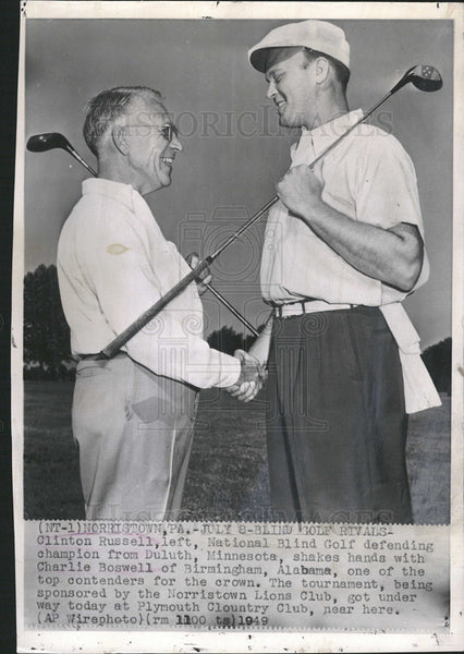 1949 Press Photo Clinton Russell,Charlie Boswell,Blind golfers - Historic Images