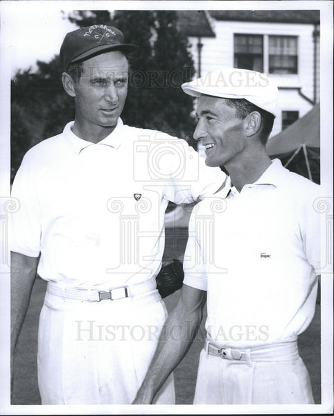 1956 Press Photo Dave Douglas and Gardiner Dickinson golfers at Western Open - Historic Images