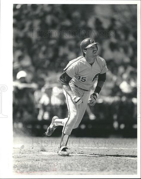 1985 Press Photo Rick Schu Philadelphia Phillies Running - Historic Images