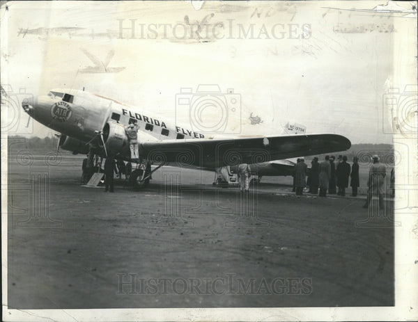 1934 Press Photo Eastern air Liner Transport  on record breaking trip. - Historic Images