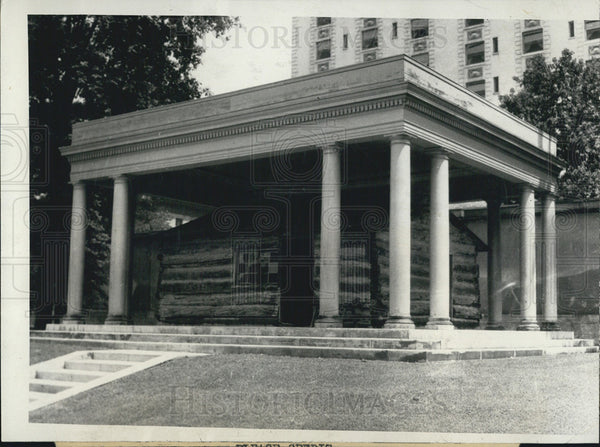1924 Press Photo Log Cabin Built In 1847 By Osmyn Douel In Salt Lake City Utah - Historic Images