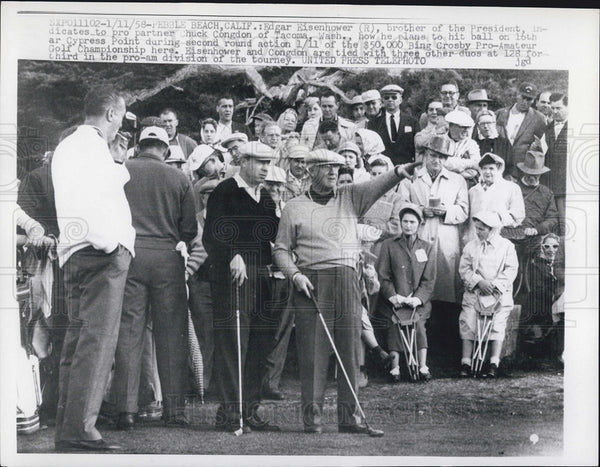 1958 Press Photo Edgar Eisenhower And Chuck Congdon Play Golf At Cypress Point - Historic Images