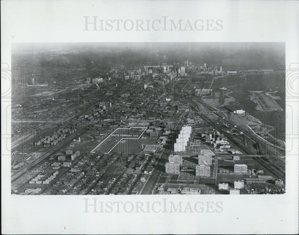 1966 Press Photo Aerial View Of South Side Of Chicago Illinois - Historic Images