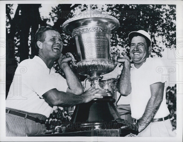 1949 Press Photo Jimmy Demaret and Johnny Palmer, World Championship Golf - Historic Images