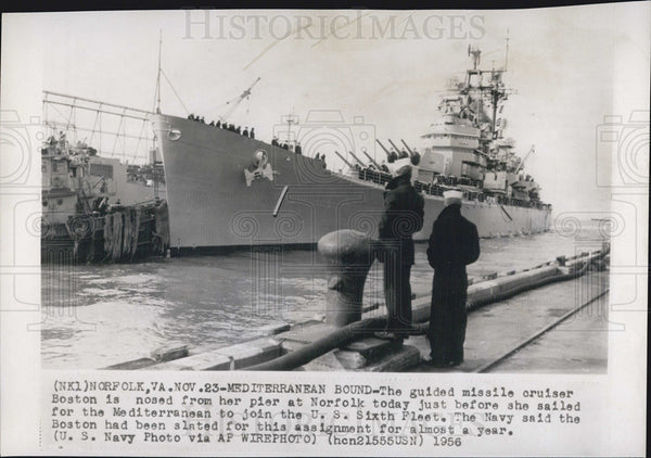 1956 Press Photo Guided Missile Cruiser Boston - Historic Images