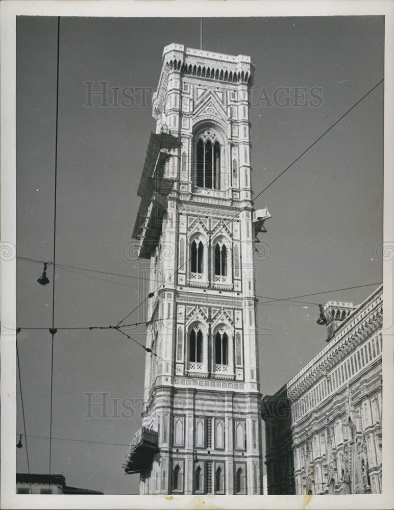 1957 Press Photo Giotto's Bell Tower in Florence, Italy - Historic Images