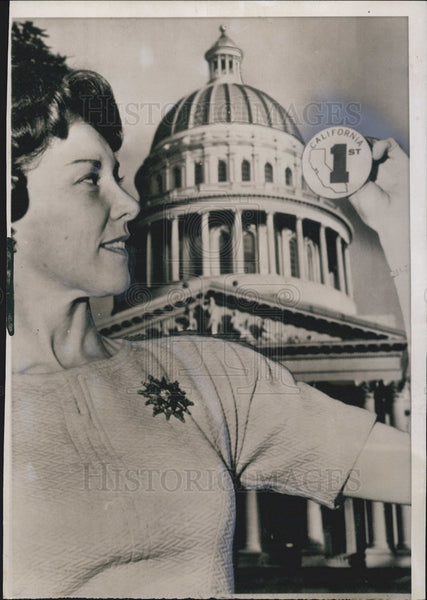 1962 Press Photo Virginia Poirer California State Capitol - Historic Images