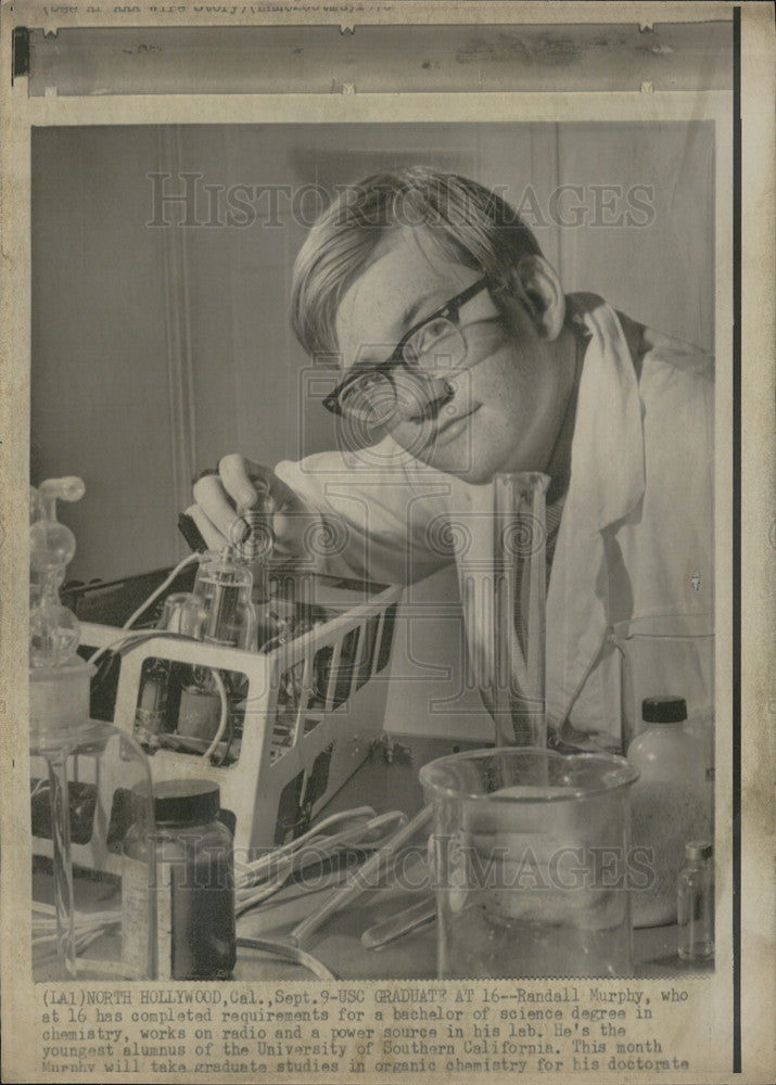 Press Photo Randall Murphy, 16, completed his Bachelor of Science degree at USC - Historic Images