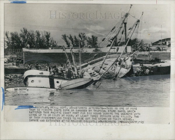 1965 Press Photo Storm aftermath fishing boats Tropical Storm hazel - Historic Images