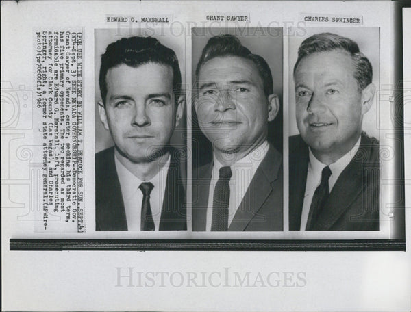1966 Press Photo Nevada Governorship Candidates, Sawyer, Marshall, Springer - Historic Images