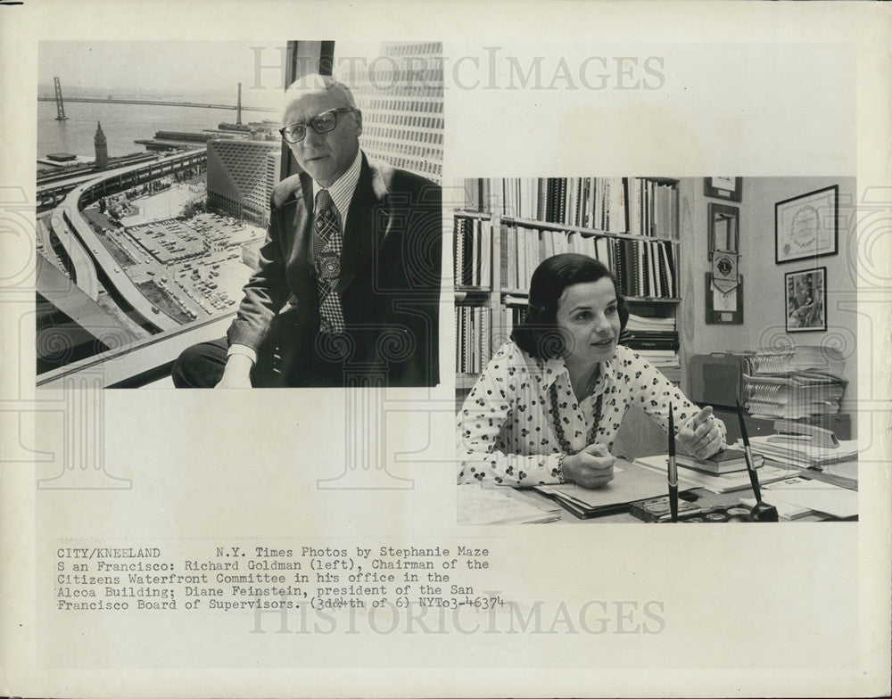 1974 Press Photo Richard Goldman and Diane Feinstein, workers in San Francisco - Historic Images