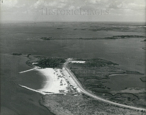 1979 Press Photo Aerial View Fort Island Gulf Beach Boat Ramp State Road 44