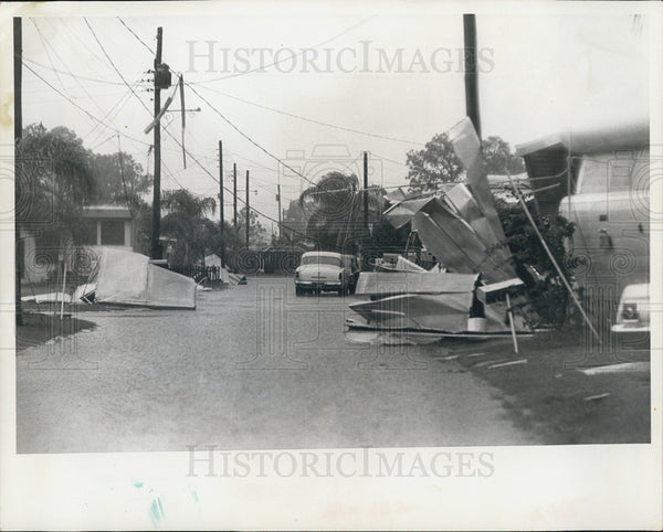 1966 Press Photo Trailer Park Street Damage Tornado Pinellas County Florida - Historic Images
