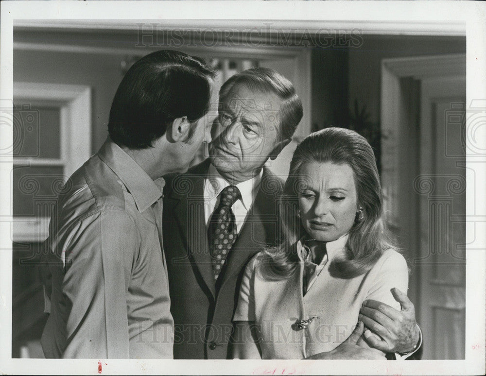 1970 Press Photo Robert Young, Cloris Leachman and William Schallert in Marcus W - Historic Images
