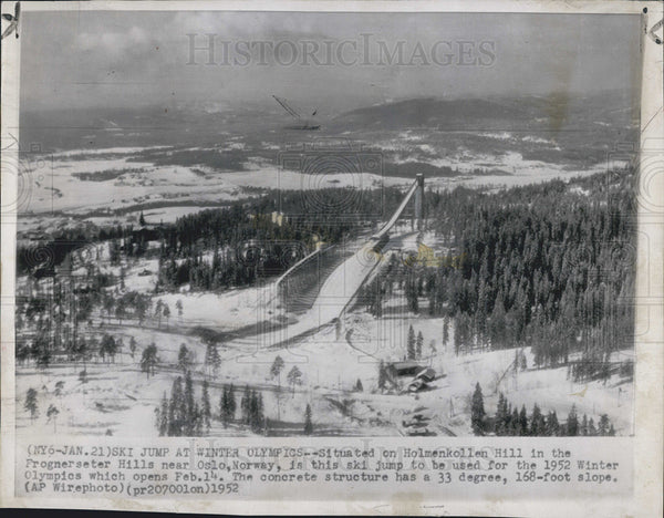 1952 Press Photo Holmenkollen Hill Winter Olympics Oslo Norway Ski Jump - Historic Images