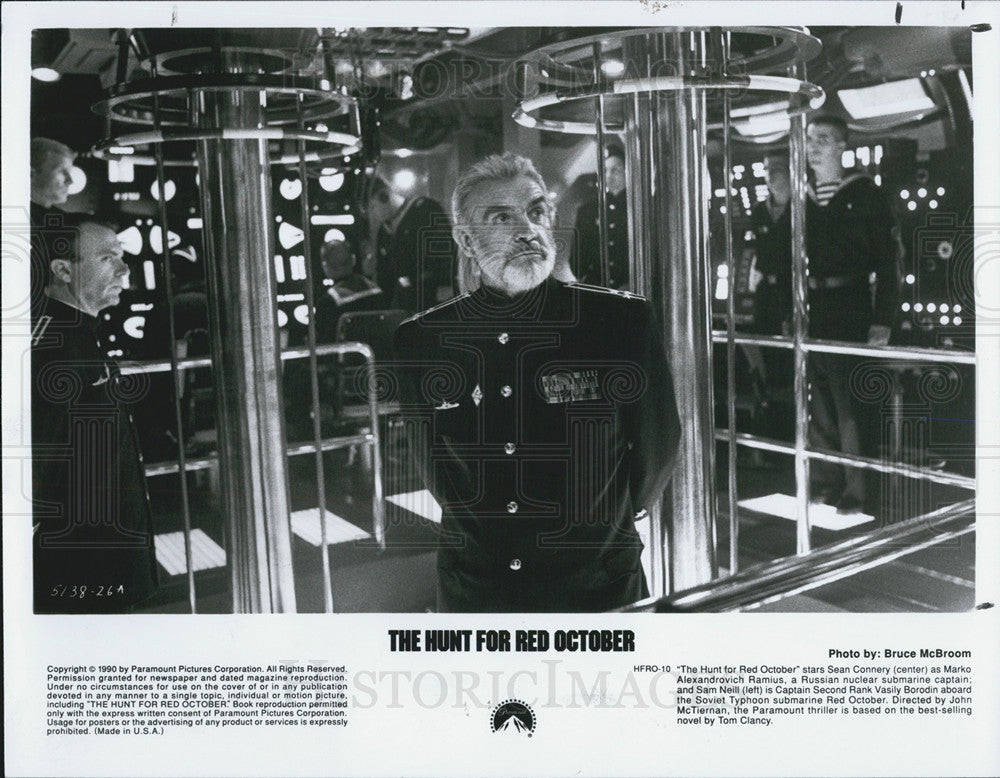 1990 Press Photo Sean Connery Sam Neill Actors Hunt Red October - Historic Images