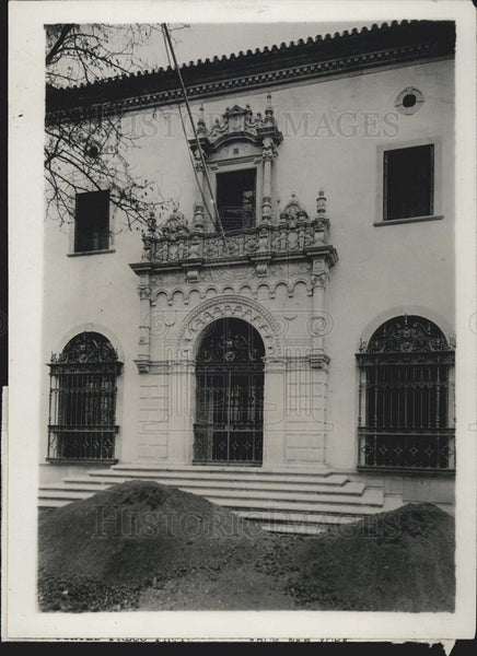 1929 Press Photo Consular Home In Seville, Spain - Historic Images