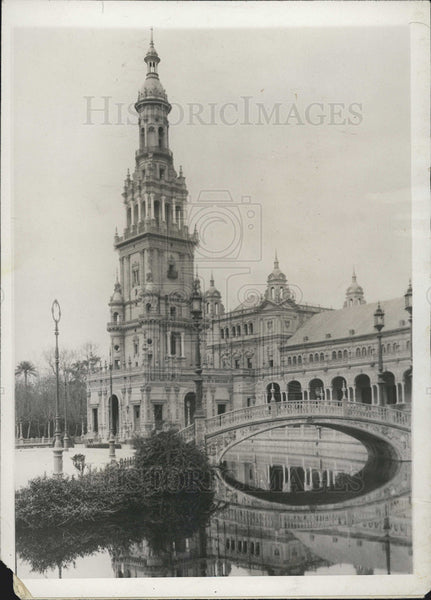 1928 Press Photo Plaza de Espana Building Set To Open In Seville, Spain - Historic Images