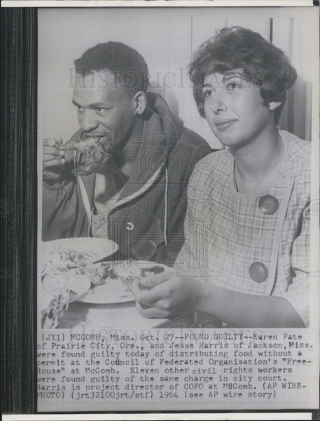 1964 Press Photo Karen Pable Jesse Harris Civil Rights Food Distribution Guilty - Historic Images