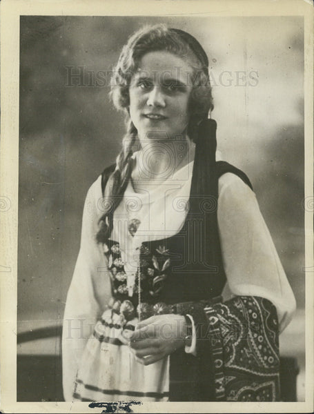 1930 Press Photo Miss Iceland, Typical Icelandic Beauty in National Costume - Historic Images