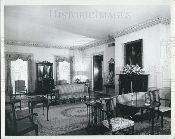 1966 Press Photo Governors Mansion Formal Drawing Room In Florida