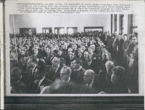 1965 Press Photo Civil Rights Rally Held At Lutheran Church Of The Reformation - Historic Images