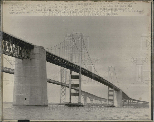 Press Photo Chesapeake Suspension Bridge Annapolis Maryland - Historic Images