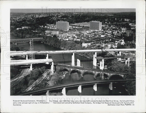 1964 Press Photo Roosevelt Blvd, East, West River Drives, Schuylkill River - Historic Images