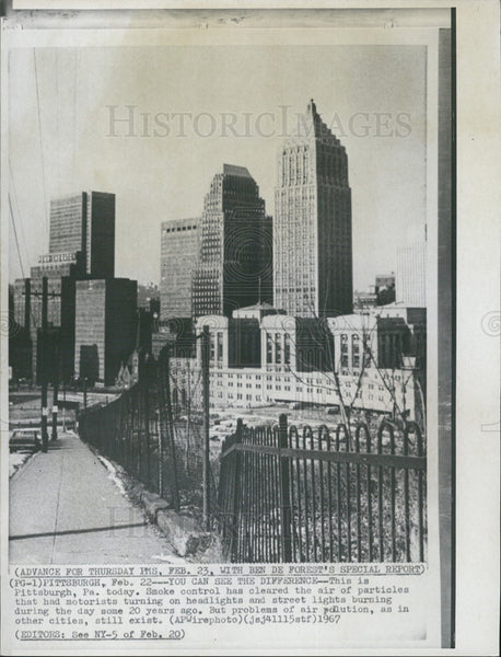 1967 Press Photo Pittsburgh Pennsylvania Skyline - Historic Images