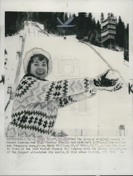 1963 Press Photo Squaw Valley California Marty Williams Skiing - Historic Images