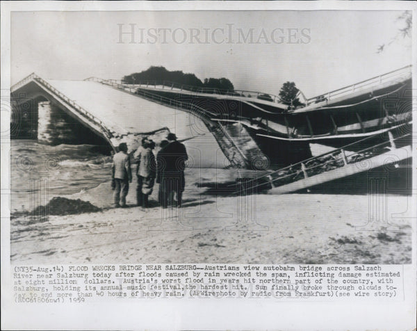 1959 Press Photo of Salzach Bridge destroy by Floods. - Historic Images