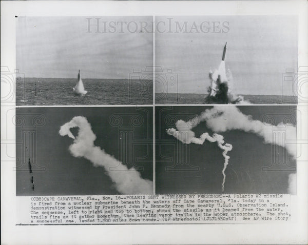 1963 Press Photo Polaris A2 Missile Fired Cape Canaveral Shots - Historic Images