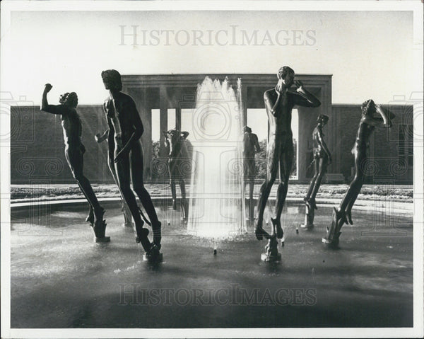 1985 Press Photo Bloomfield Hills Fountain Michigan - Historic Images