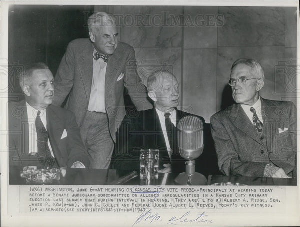 1947 Press Photo L to R; Albert Ridge, James Kem, John Collet, Albert Reeves, - Historic Images