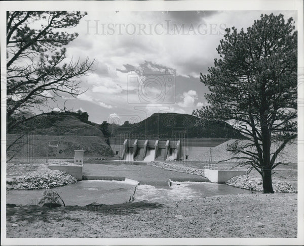 1952 Press Photo Olympus Dam Lake Estes Power Plant Larimer County Colorado - Historic Images