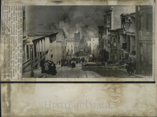 1973 Press Photo Fires on Sacramento Street following the earthquake in San Fran - Historic Images
