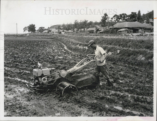 1965 Press Photo Korean Farmers with cultivator - Historic Images
