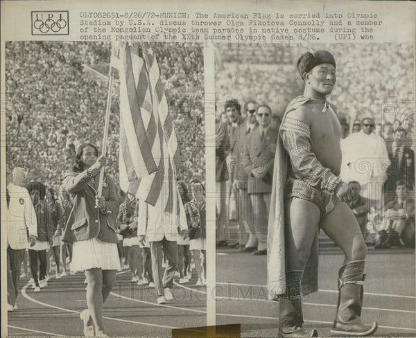 1972 Press Photo American Flag Olympics carrier - Historic Images
